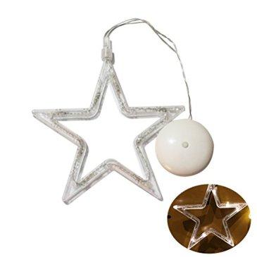 LEDMOMO lumières de Noël–Étoile à Cinq Branches avec lumière pour fenêtre avec Ventouse et Batterie pour décoration de noël (lumière Blanche Pure)