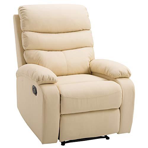 HOMCOM Poltrona Relax Reclinabile con Poggiapiedi Ecopelle 82 × 97 × 100cm Beige