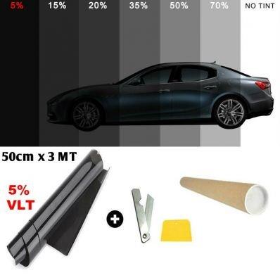 StickersLab - Pellicola Oscurante AntiGraffio per vetri Auto VLT 5% Super Nero 50cm x 300cm (50cm x 300cm)
