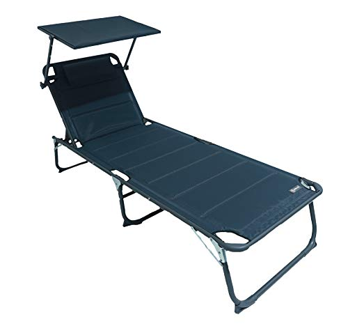 HOMECALL XXL Aluminium Sun Lounger with Sun Roof Three-Legged Beach bed  200x70 cm Maximum Load 150 kg, Grey textilene, Quick Dry Foam