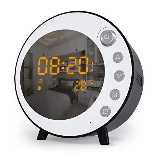 Jim\'s Store Radiowecker Digitaler Wecker Tischuhr Bluetooth 5.0 Lautsprecher FM Radio USB Anschluss Dual-Alarm mit Temperaturanzeige LED Snooze 30 Lautstärke schwarz weiß