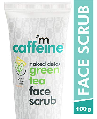 mCaffeine Naked Detox Green Tea Face Scrub | Exfoliation | Vitamin C, Hyaluronic Acid | All Skin | Paraben & SLS Free | 100 g