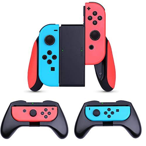 Nintendo Switch Joy-con Grips (3 Piezas),HEYSTOP Estuche Protector Handle Kits para Mandos JoyCon Set de Nintendo Switch Controller