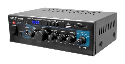 Pyle PTAU55 Stereo Power Amplifier with 2 x 120 Watt USB/SD Card Readers