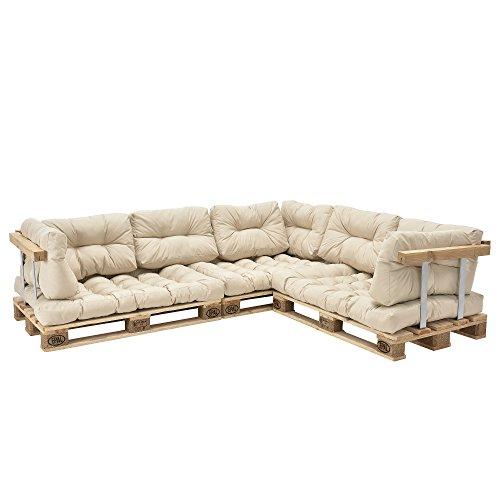 [en.casa] Divano paletta euro-sofá - a 5 posti con cuscino - [crema] set completo incl. bracciolo e...