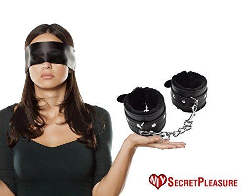 Hochwertige Schwarze Augenbinde und Plüsch-Handfessel/Handschellen Set - Erotik Set für Frauen und Männer sowie Paare