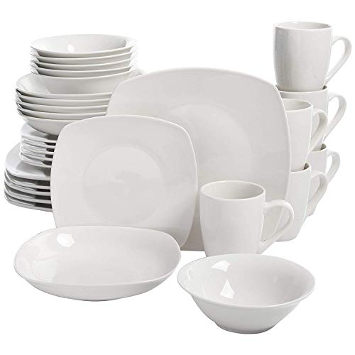 Square Dinnerware Set, 30 Piece Dish Set, White, Contemporary, Square Dishes for The Home