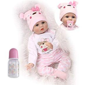 iCradle 22 Pulgadas 55cm Adorable Bebe Reborn Niña Muñeca Suave Silicona Realistas Hermosas Muñecas Recién Nacidos Niños Playmate (Eyes Open)
