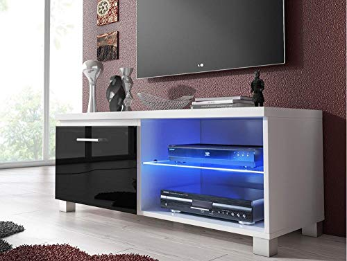 Home Innovation- TV mobile LED - porta TV, bianco mate e nero laccato, dimensioni: 100 x 40 x 42 cm...