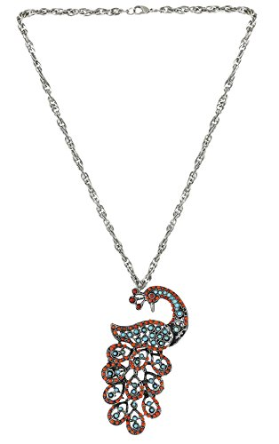 Arittra Alloy Tribal Design Multicolour peacock Pendant Silver Chain ethnictraditionaltribal antique style choker style Necklace Set with matching earrings for women and girls-Valentine gift,todays,deal,party,casual,discount,offer,sale,clearance,lightning,festival,fashion,wedding,summer