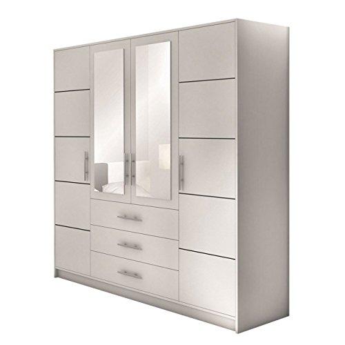 Mirjan24 Drehtürenschrank Bado 4D, Kleiderschrank mit Spiegel, Schubladen und Spiegeltüren, Elegantes Schlafzimmer Schrank, Microfaser, Weiß, 58 x 196 x 200 cm