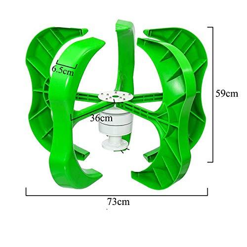QWERTOUY 4500W / 4000W Generador de Viento 12/24 / 48V 5 Palas de la Linterna de aerogeneradores de Eje Vertical para Uso doméstico Controlador Farola +