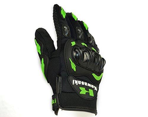 Kawasaki – Motorrad-Handschuhe, für den Sommer, mit stoßfesten Protektoren, aus Nylon und Polyester, Größe: L 1