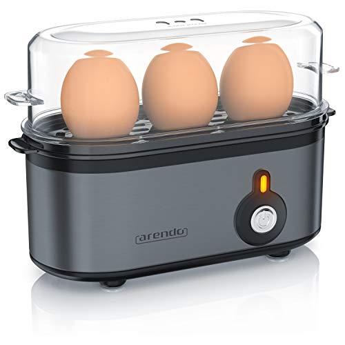 Arendo - Cuiseur à œufs'Threecook' | Cuiseur à œufs compact 3 places | Interrupteur ON/OFF | Cuisson sélectionnable | 1-3 œufs |'Pieds en caoutchouc antidérapants' | Pas de BPA | Cool Grey