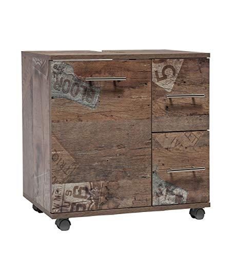Schildmeyer 125687 Waschbeckenunterschrank, 65 x 60X 32 cm, Panamaeiche Dekor