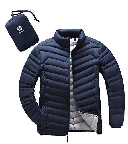LAPASA Giacca da Uomo Piumino Corto Cappotto Invernale Leggero e Caldo Manica Lunga M32 (S(Lunghezza 65 cm/Manica 64 cm), Blu Navy)