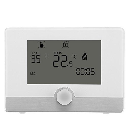 Contrôleur de Température Programmable Thermostat Numérique pour le Système de Chauffage de Chaudière Mur-accroché(Blanc)