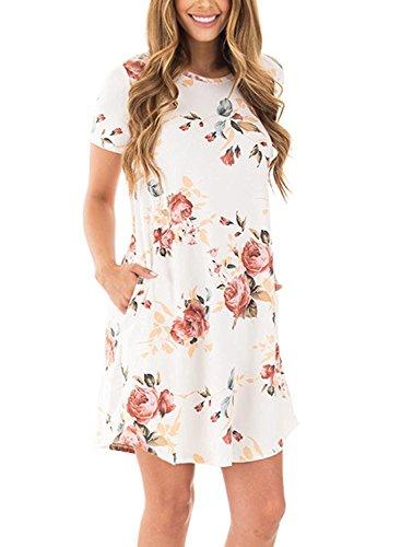 Minetom Mujer Mini Vestido Moda Cuello Redondo Manga Corta Dress Verano Beachwear Playa Chaleco impresión Vestidos Blanco ES 36