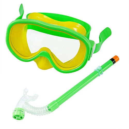 Set per bambini da immersione, maschera subacquea con boccaglio, antiscivolo, antiappannamento, per snorkeling, maschera da sub con valvola di sfiato , verde