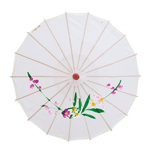 """Lewano 33"""" Japanese Chinese Umbrella Parasol for Wedding Parties, Photography, Costumes, Cosplay, Decoration - (White)"""