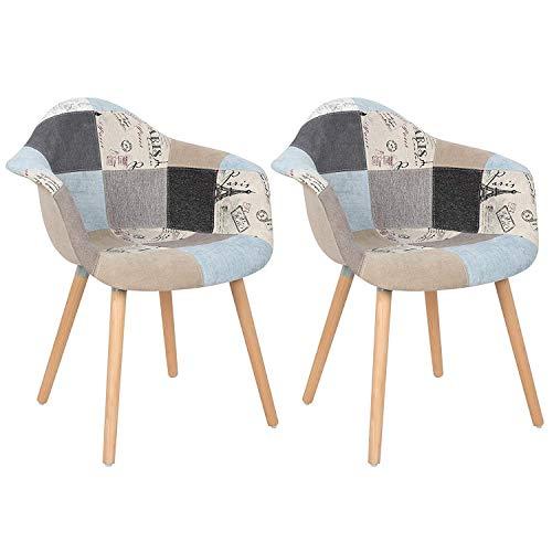 GroBKau Set di 2 poltrone Multicolore Patchwork in Tessuto di Lino per Il Tempo Libero Soggiorno sedie ad Angolo sedie con Schienale Morbido Cuscino Grey