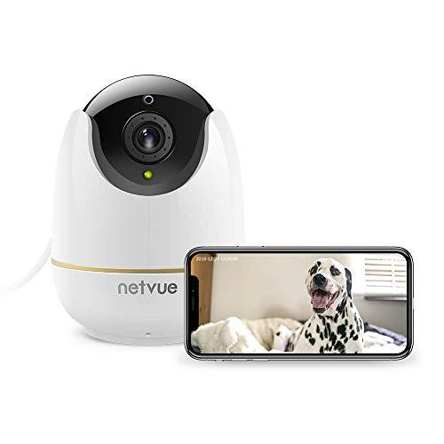 NETVUE Telecamera Sorveglianza Interno, 1080P Full HD Webcam Wifi Sicurezza con Rilevazione di Movimento, Zoom 8x, Visione Notturna, Audio Bidirezionale, Videocamera per Cani/Animali