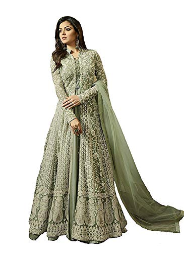 MONIKA SILK MILL Women's Net Embroidered Anarkali Salwar Suit Dress Materials (MSMLT1706_N, Green, Free Size)