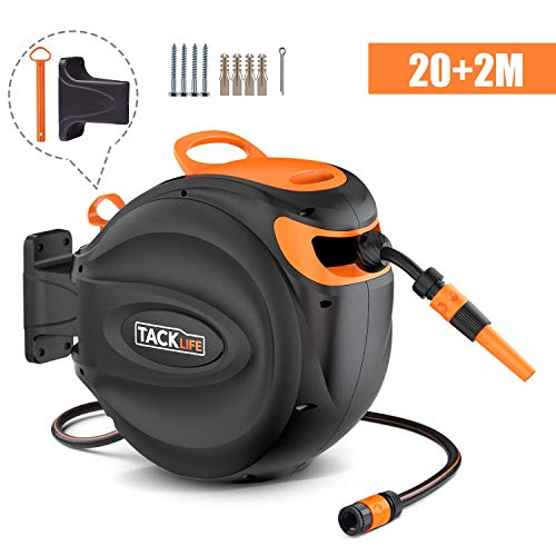 TACKLIFE Hose Reel, 20+2m Wall-Mounted Hose Reel roll-up Automatic: Swivelling Auto Hose, Including 20m Quality Hose, Wall Bracket and Spray Nozzle, Any Length Lock - GHR1A