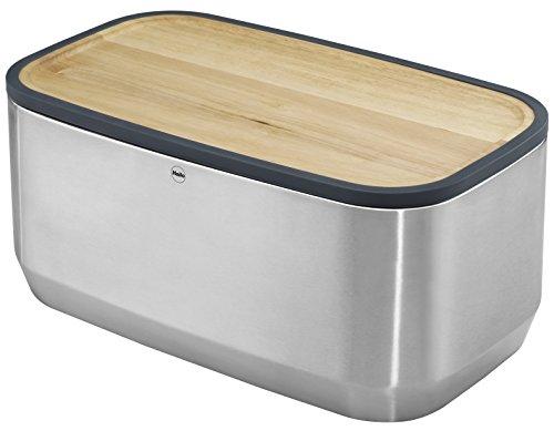 Hailo KitchenLine Design Plus Brotkasten, gebürstetes Edelstahl, Deckel aus Holz als Schneidebrett verwendbar, Brotauflage aus Holz, 0833-950