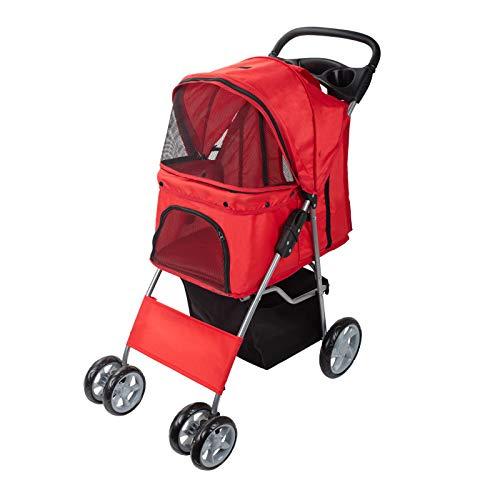 Dawoo Pet Dog Cat Animal Stroller passeggino Pram Jogger Buggy con 4 Wheels _Red)