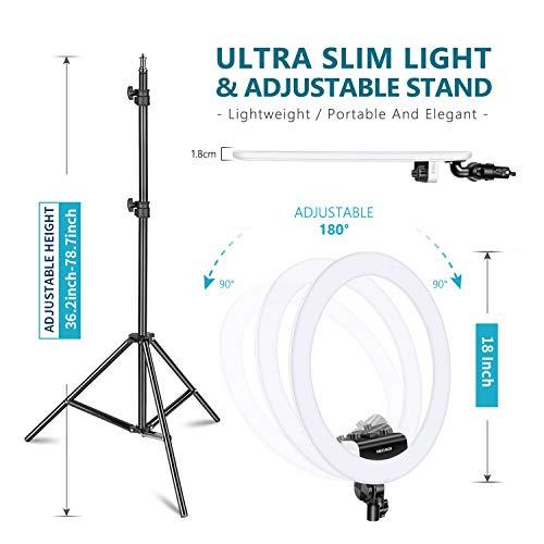 Neewer Ring Light Kit [1,8cm Ultra Fin] Anneau Lumineux 48 cm, 3200-5600K, Lumière Anneau à Intensité Réglable avec Pied, Porte-Smartphone, ... 23