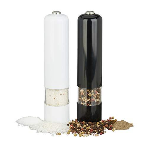 Relaxdays Pfeffermühle Elektrisch, mit Licht, 2er Set, Gewürzmühle, Kunststoff, batteriebetrieben, schwarz/weiß