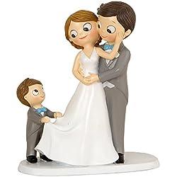 Mopec Figura Pastel de boda Novios E Hijo, Poliresina, Gris, 8,6 x 18,8 x 21,4 cm