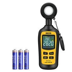 Medidor de Luz, URCERI Luxómetro Portátil, Medidor de Luminosidad Rango 0-200,000 Lux; 0~20,000 FC, con Pantalla LCD a Color de 4 Dígitos, Batería Incluida