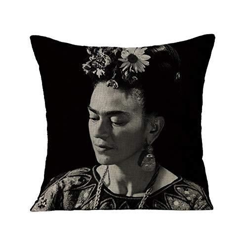 FEIRAN 3D Impreso Frida Kahlo Autorretrato Funda de Almohada Funda de cojín para Sofá Coche Decoración para el hogar 02 45X45cm