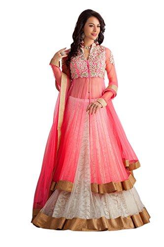 Clickedia Women's Net Lehenga (Pink Panther Lehenga Suit_Free Size_Pink & White)