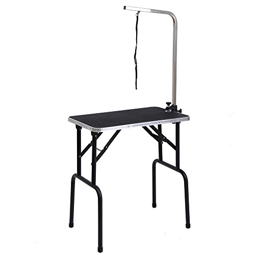 If you have a small-medium sized pet and you are in the market for a foldable table, you might want to consider the BTM L 76*W 46*H76 cm Adjustable Portable Mobile Folding Dog Cat Pet Grooming Table. With enough room for one pet at a time, you can get grooming done without an issue. If you happen to be mighty tall you might want to look for a table with adjustable height. This model is not one of them. Medium height users will have no issues using the table. It is sold at affordable prices and it would perform better in domestic environments. For simple groomers with simple pets, here is a simple solution.