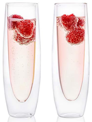 Eparé 6 oz forte doppia parete isolata borosilicato Thermo bicchiere di Champagne flauto (Set di 2)