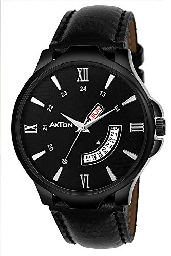 Axton Partywear/Formal/Casual Day and Date Analogue Display Black Dial Watch for Men & Boys