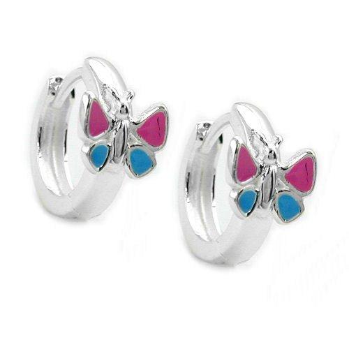 unbesp ielt joyas pendientes de plata pendientes plata 925pendientes de aro mariposa rosa azul para niños 12x 7mm brillante cierre con ranuras Incluye caja de regalo