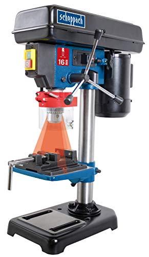 Scheppach Tischbohrmaschine DP16VL mit Schraubstock (500 W, Stahl-Konstruktion, 5 Geschwindigkeiten, Bohrfutter Spannbereich: 16mm, integrierter Laser, inkl. Schraubstock)