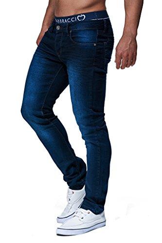 Leif Nelson Herren Jeans Hose Slim Fit Denim Blaue graue Lange Jeanshose für Männer Coole Jungen weiße Stretch Freizeithose Schwarze Cargo Chino Sommer Winter Basic LN303 Blau W34/L30
