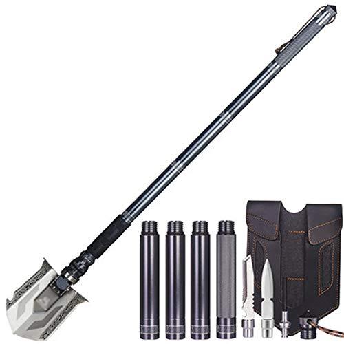 FHer-Folding Shovel Pala Plegable, Pala de Supervivencia Militar con la piqueta/la azada/la Sierra/el abrelatas/el compás, Herramienta al Aire Libre para Acampar