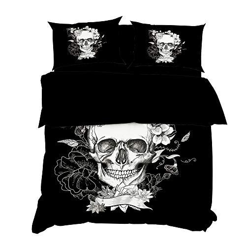ClothHouse Motivo Teschio Copripiumino Copripiumino Set 4 Pezzi, 3D Horror Bones Pattern, Caso per...