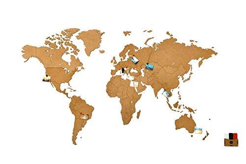 MiMi Innovations - Lussuosa Decorazione da Parete in Legno con Mappa del Mondo 130 x 78 cm - Marrone