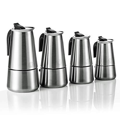 Coffee Fox Cafetière à Expresso en Acier Inoxydable pour 2 4 6 9 Tasses, Acier Inoxydable, 6 Tasses