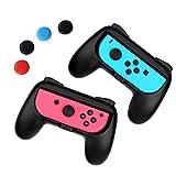 iAmer Comfort Grips Per Nintendo Switch Joy-Con , [2 Pezzi] Manico Grip per il Controllo Nintendo Switch Joy-Con(Nero)+4 Thumb Stick