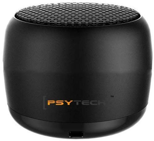 Covet Covers PSYTECH Mini Boost 2 Wireless Speakers, Portable Small Speaker Built-in Mic and Selfie Remote Control, Low Harmonic Distortion for iPhone iPad Android Smartphone More (Black)
