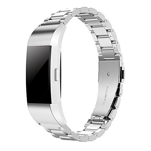 Simpeak Cinturino Compatible per Charge 2(5.5-8.1 Pollice), Cinturino Sostituzione per Fitbit Charge 2 in Acciaio Inossidabile con Chiusura Pieghevole, Fibbia di Metallo per Fitbit Charge 2,Argento
