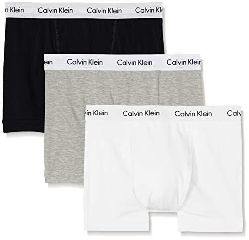 Calvin Klein Trunk_0000U2662G, Bóxer para Hombre, Multicolor (Grey/White/Black), M, Pack de 3